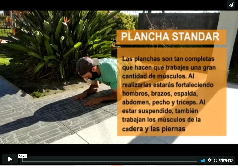 video planchas y sentadillas